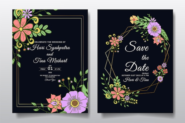 Bruiloft uitnodiging wenskaart met ornament of doodle bloemenbladeren ontwerp achtergrond.