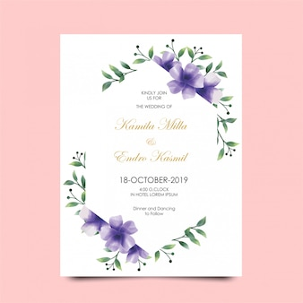 Bruiloft uitnodigingen bloem kleuren paarse stijl aquarel
