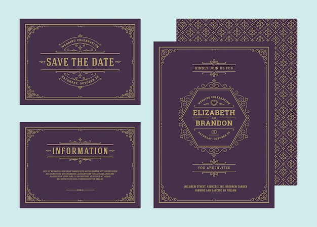 Bruiloft uitnodigingen instellen bloeit ornamenten kaarten. nodig uit, bewaar de datum en het informatieontwerp. Premium Vector