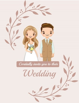 Bruiloft uitnodigingen kaart met schattige paar bruid en bruidegom cartoon