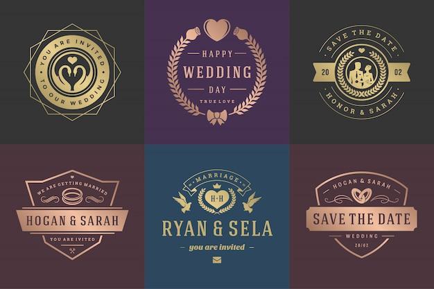 Bruiloft uitnodigingen slaan de datum logo's en badges vector elegante sjablonen set.