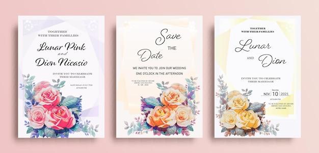 Bruiloft uitnodigingskaart aquarel schilderijen vintage frame set rozen en bladeren op roze achtergrond