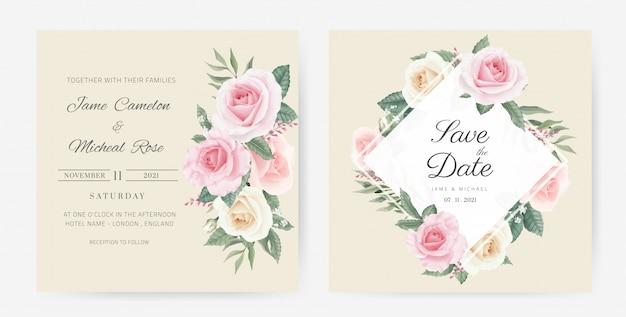 Bruiloft uitnodigingskaart. bloemboeket van witte rozen, roze beschilderd met waterverf. sjabloonkaart bewaar de datum.