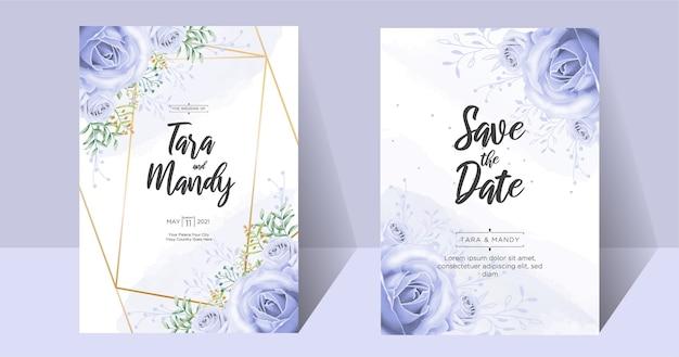 Bruiloft uitnodigingskaart bloemdessin met hand tekenen