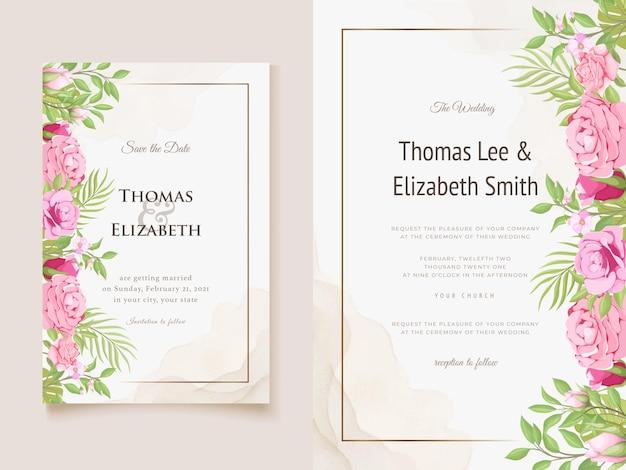 Bruiloft uitnodigingskaart bloemen en blad