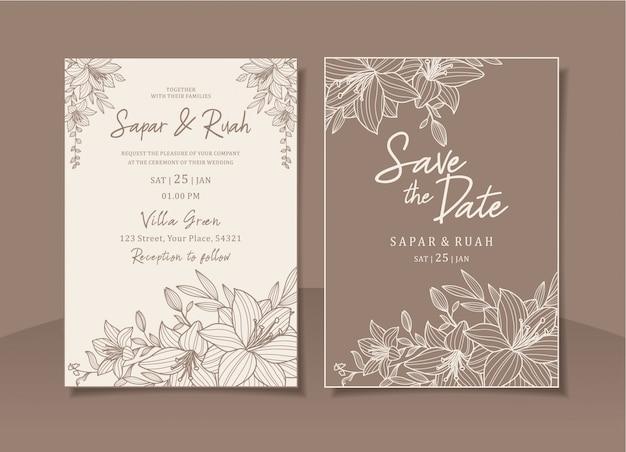 Bruiloft uitnodigingskaart bloemen met elegante schets luxe