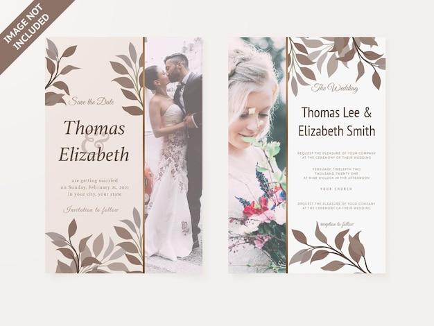 Bruiloft uitnodigingskaart bloemen ontwerpsjabloon