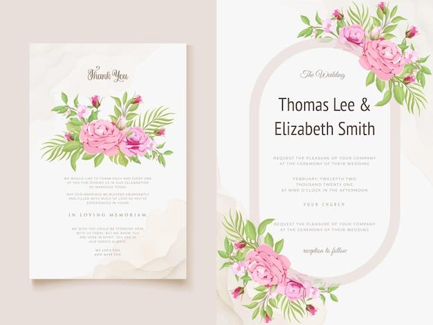 Bruiloft uitnodigingskaart bloemen vector sjabloon