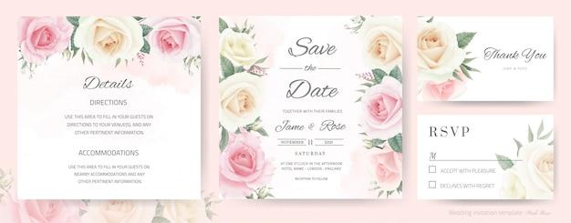 Bruiloft uitnodigingskaart. boeket van witte rozen, roze, aquarel geschilderd. sjabloon bedankkaart, rsvp-kaart en bewaar de datumkaart.