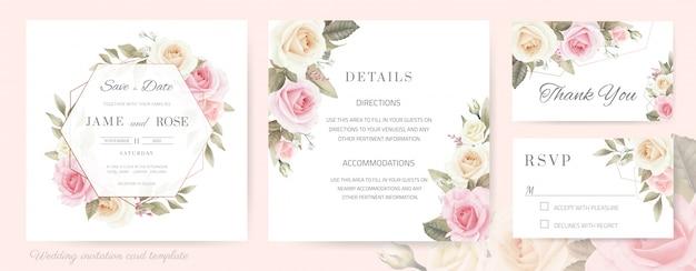 Bruiloft uitnodigingskaart. boeket van witte rozen, roze beschilderd met waterverf. rose metallic frame. sjabloon kaartenset.