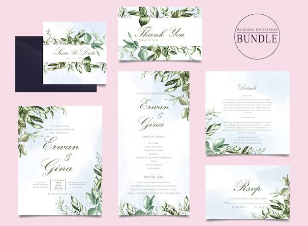 Bruiloft uitnodigingskaart bundel met groene bladeren sjabloon