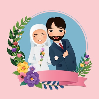 Bruiloft uitnodigingskaart de bruid en bruidegom schattig moslim paar cartoon