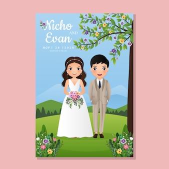 Bruiloft uitnodigingskaart de bruid en bruidegom schattig paar stripfiguur in prachtige natuur en bloemen. landschap achtergrond