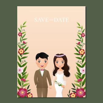 Bruiloft uitnodigingskaart de bruid en bruidegom schattig paar stripfiguur.