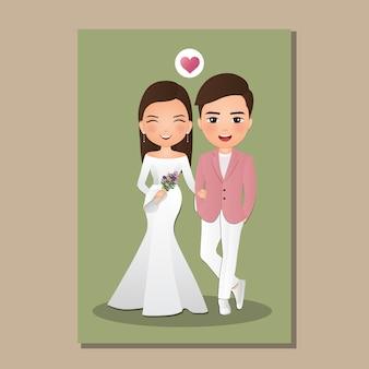 Bruiloft uitnodigingskaart de bruid en bruidegom schattige paar stripfiguur. illustratie
