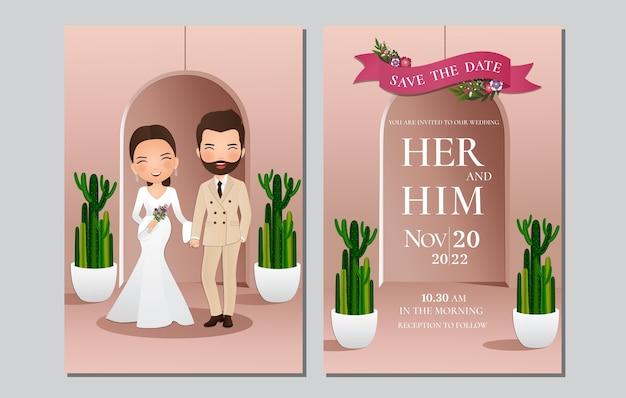 Bruiloft uitnodigingskaart de bruid en bruidegom schattige paar stripfiguur