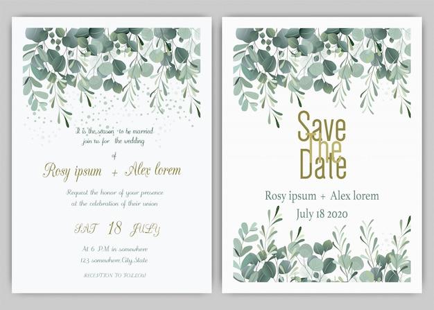 Bruiloft uitnodigingskaart floral hand getekende frame