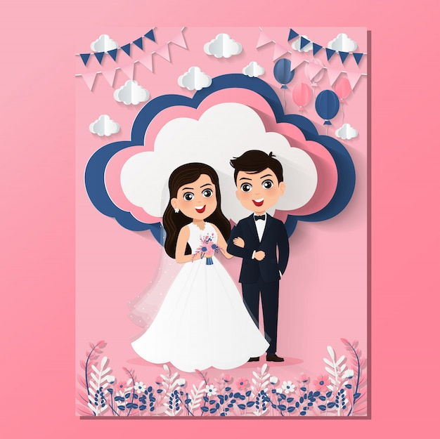 Bruiloft uitnodigingskaart het bruid en bruidegom schattige paar stripfiguur.