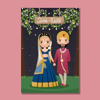 Bruiloft uitnodigingskaart het schattige paar bruid en bruidegom in traditionele indiase jurk cartoon karakter illustratie