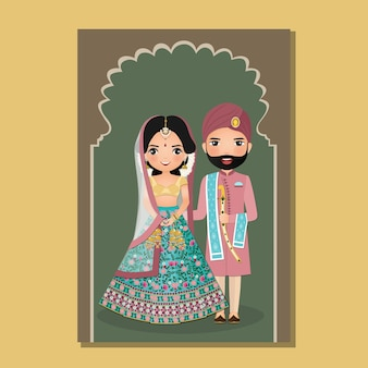 Bruiloft uitnodigingskaart het schattige paar bruid en bruidegom in traditionele indiase kleding