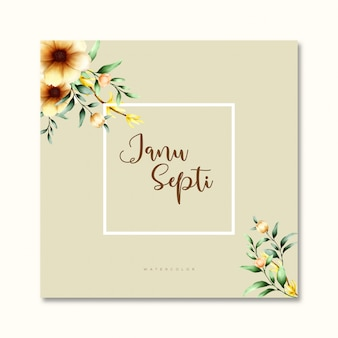 Bruiloft uitnodigingskaart in aquarel