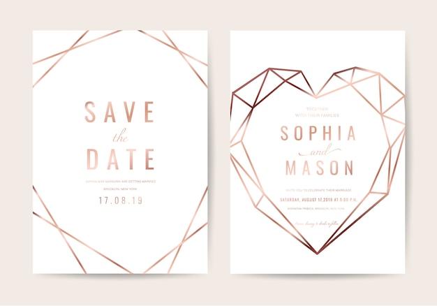 Bruiloft uitnodigingskaart in geometrische stijl Premium Vector