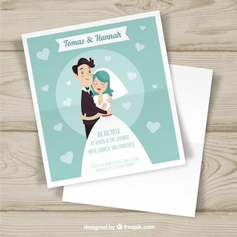 Bruiloft uitnodigingskaart in vlakke stijl