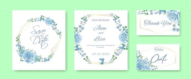 Bruiloft uitnodigingskaart ingesteld met blauwe roos