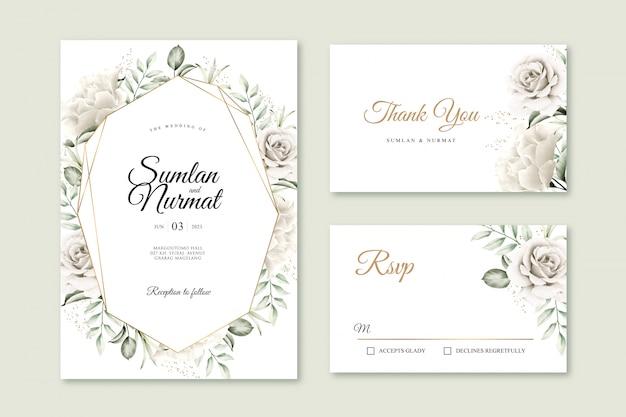 Bruiloft uitnodigingskaart ingesteld met bloemen aquarel en gouden geometrische