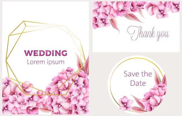 Bruiloft uitnodigingskaart ingesteld met orchideebloemen en pentagon frame