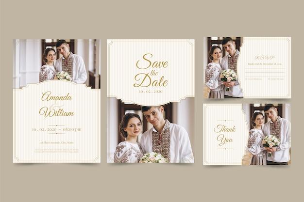 Bruiloft uitnodigingskaart ingesteld met paar
