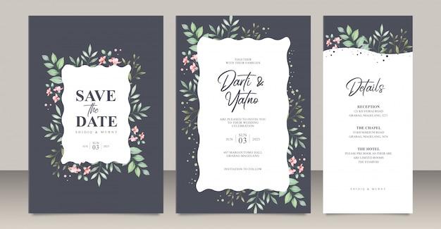Bruiloft uitnodigingskaart ingesteld sjabloon met bladeren aquarel