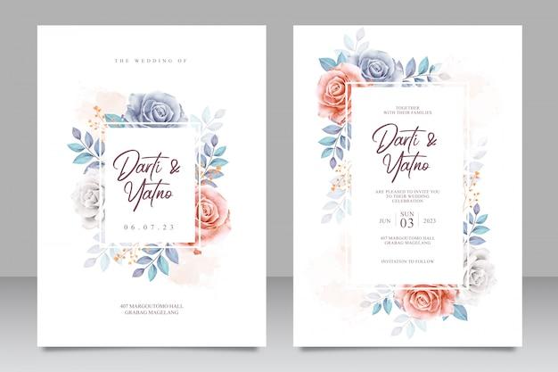 Bruiloft uitnodigingskaart ingesteld sjabloon met prachtige bloemen en bladeren