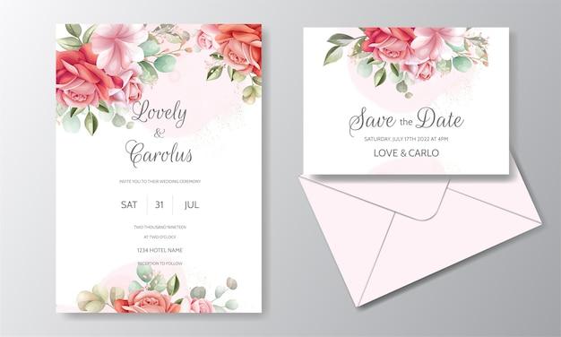 Bruiloft uitnodigingskaart ingesteld sjabloon met prachtige roze bloem en bladeren