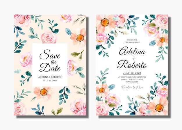 Bruiloft uitnodigingskaart instellen met mooie roze bloemenwaterverf