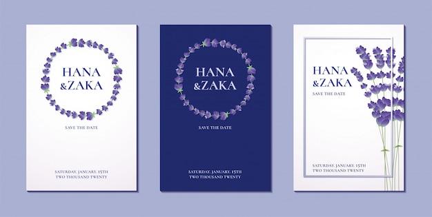 Bruiloft uitnodigingskaart lavendel collectie