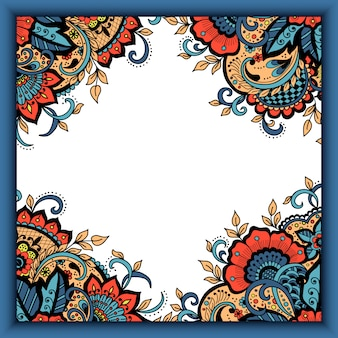 Bruiloft uitnodigingskaart met abstract floral elementen in indiase mehndi-stijl.
