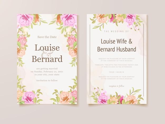 Bruiloft uitnodigingskaart met aquarel bloem frame