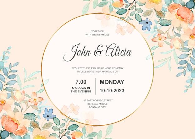 Bruiloft uitnodigingskaart met aquarel bloem