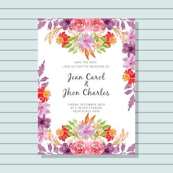 Bruiloft uitnodigingskaart met aquarel bloemen frame