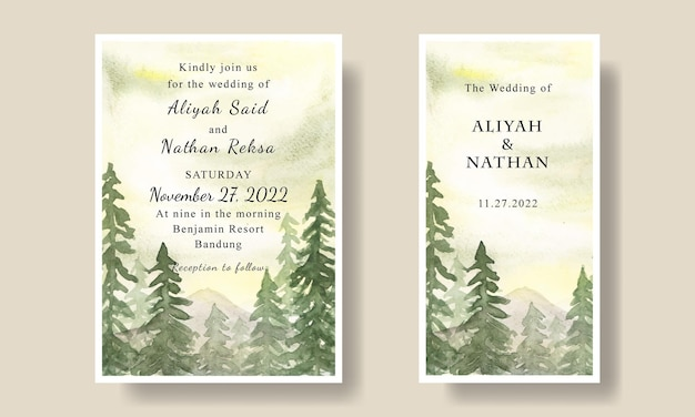 Bruiloft uitnodigingskaart met aquarel groene lucht berg achtergrond sjabloon bewerkbaar