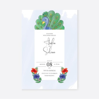 Bruiloft uitnodigingskaart met aquarel peacock premium vector