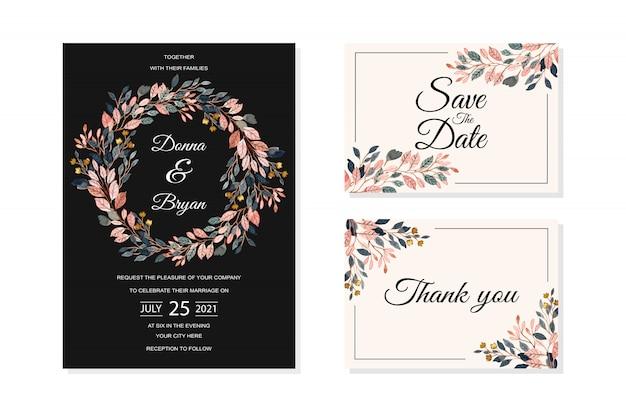 Bruiloft uitnodigingskaart met aquarel verlaat achtergrond