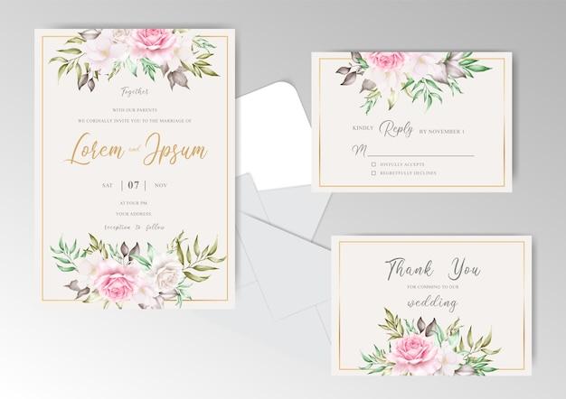 Bruiloft uitnodigingskaart met arrangement bloemen en gouden frame