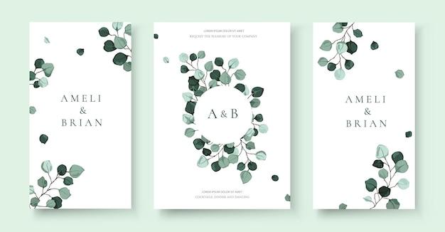 Bruiloft uitnodigingskaart met bladeren set