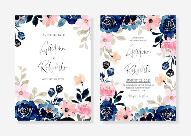 Bruiloft uitnodigingskaart met blauw roze bloemen aquarel