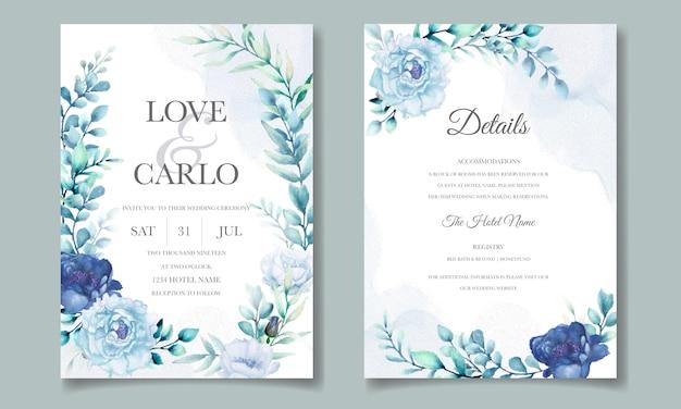 Bruiloft uitnodigingskaart met blauwe aquarel bloemen