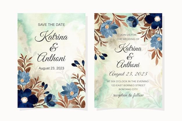 Bruiloft uitnodigingskaart met blauwe bloem en bruine bladeren aquarel