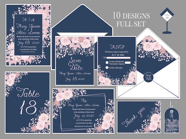 Bruiloft uitnodigingskaart met bloem sjablonen.