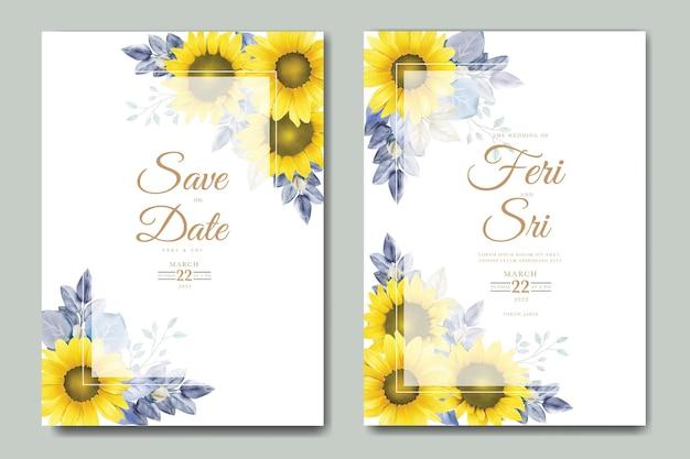 Bruiloft uitnodigingskaart met bloemen aquarel
